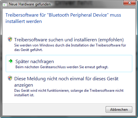 Bluetooth Peripheral Device Driver (Nachfrage nach Bluetooth Kopplung mit iPhone 3.0)